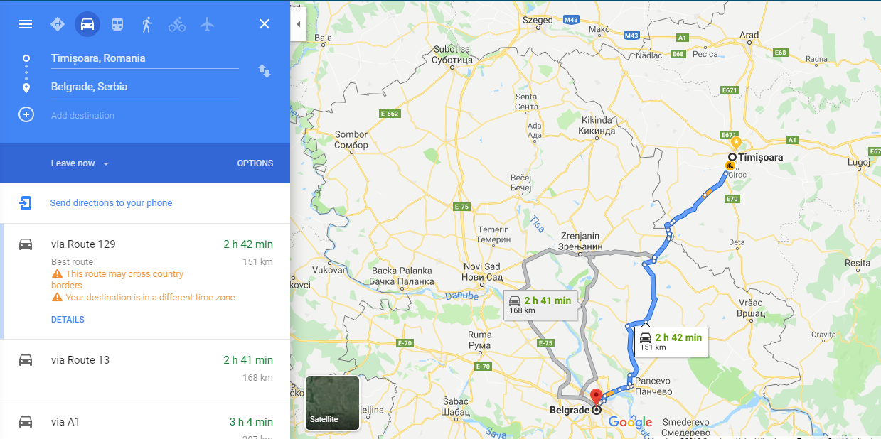 How to get from Timisoara to Belgrade